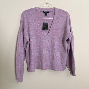 Forever 21 Heather Lavender V-Neck Sweater